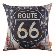 LINKWELL 46cm x 46cm Vintage Wood Rusted Look USA American National Flag Route 66 for Man Cave Throw Pillow Cover Brand Cushion Cover