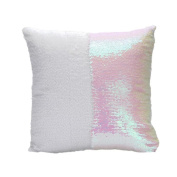 OrliverHL Magic Square Reversible Mermaid Sequin Cushion Cover Glitter Throw Pillow Case,Ivory + White