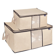 Pack 2 Folding Breathable Jumbo Storage Bag for Comforters, Blanket, Clothes