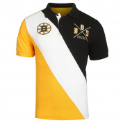 Boston Bruins NHL Hockey Men's Diagonal Stripe Polo Shirt