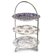 Utopia Chrome 3-Tier Cake Stand 43cm with 3 x Vintage Plates 25cm for Displaying Afternoon Tea