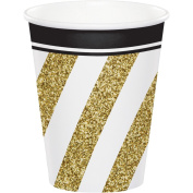 Creative Converting 317549 96Count 270ml Hot/Cold Paper Cups, black & Gold, , Black and Gold