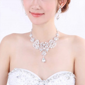 iEFiEL Bridal Wedding Engaged Prom Rhinestone Pendant Necklace Earrings Jewellery Set