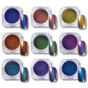 NICOLE DIARY 9Colors 0.5G Top-Grade Chameleon Nail Powder Manicure Nail Art Chrome Pigment Glitters Black Base Colour Needed