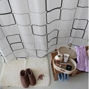 Lingstar Modern Style EVA Waterproof Mould-proof Bathroom Fabric Bath Shower Curtain White and Black Plaid-