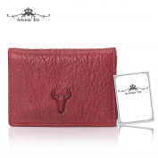 Artemis'Iris Natural Genuine Cow Leather Luxury Bifold Cards Holder Compact Short Pocket Wallet With ID/Photo Window