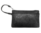 ili Leather 6577 Embossed Wristlet Handbag with RFID Lining