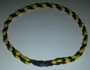 Paracord Sports Necklace Twisted Black & Gold; Nylon Rope Necklace; Parachute Cord Jewellery