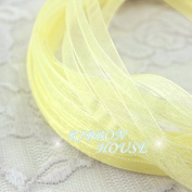 FunnyPicker (10 Metres) 1/4'' (6Mm) Pale Yellow Organza Ribbons Wholesale Wedding Gift Wrapping Christmas Ribbons