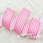 """FunnyPicker (5 Yards/Lot) 1""""(25Mm) Peach Red And White Stripes Grosgrain Ribbon Printed Gift Wrap Ribbon Decoration Ribbons"""