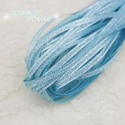 FunnyPicker (20 Metres/Lot) 1/8'' (3Mm) Sky Blue Metallic Glitter Ribbon Colourful Gift Package Ribbons Wholesale