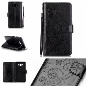 Galaxy J7 Case, ARSUE Premium Vintage Emboss Butterfly Flower PU Leather Wallet Case with Card Slots & Stand Flip Cover for Samsung Galaxy J7 2015 / J700 (Not Fit J710 2016) - Black