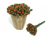 50 Dark Orange Tiny Rose Mulberry Paper Flower Scrapbook Craft 5mm Card Wedding Dollhouse