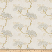 Mount Vernon Asian Floral Linen Stream Fabric By The Yard