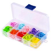 WXJ13 10 Colours Knitting Stitch Counter Stitch Markers Knitting locking stitch markers with clips, 120 Pieces
