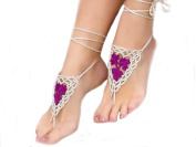Ewandastore 1 Pair Crochet Barefoot Sandals,Nude Shoes,Foot Jewellery, Anklet,Yoga Chain,Beach Pool Wedding Jewellery,Footless Sandles,Beach Wedding Summer Shoes