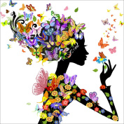 Baiyu 5D Handmade Diamond Painting Beautiful Girl with Butterfly DIY Cross Stitch Mosaic Rubik's Cube Diamond Embroidery Picture Needlework Crafts Kits for Entrance Decoration Wall Sticker 3030CM