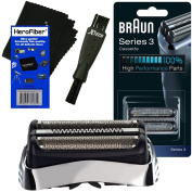 Braun 32S Replacement Foil Head Cassette, Silver for Series 3 (new generation) + Double Ended Shaver Brush + HeroFiber Ultra Gentle Cleaning Cloth
