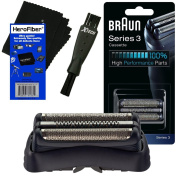 Braun 32B Replacement Foil Head Cassette, Black for Series 3 (new generation) + Double Ended Shaver Brush + HeroFiber Ultra Gentle Cleaning Cloth