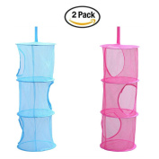 Yamde 2 Pcs Mesh Hanging Storage, Multifunctional 3 Compartments Hanging Mesh Portable Travel Folding Kids Toy Storage Basket Organiser Bags Hanging Clothes Dryer Net Used for Bedroom Wall Closet