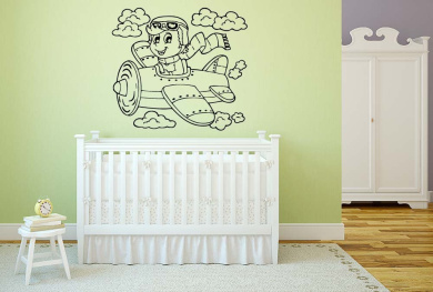 Wall Decal Sticker Bedroom Aeroplane Clouds Sky Cartoon Cute Nursery Kids Girls Room 682b