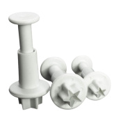 3PCS Star Cake Cookies Cutter Plunger Sugarcraft Decorating Fondant Mould Tools Set