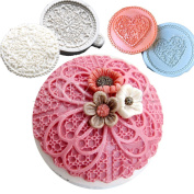 Anyana 3pcs set Flower lace round Lace Cupcake topper Top Decoration tool Silicone chocolate Fondant Mould Cake pastry sugarcraft