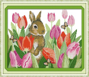 Happy Forever Cross Stitch Animals, the rabbit in tulips