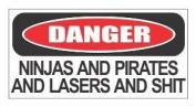 (3) Danger ninja and pirates funny hard hat / helmet stickers by JS Artworks