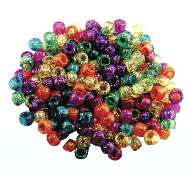 Hygloss Plastic Pony Bead, Assorted Glitter Colour, Pack of 1000