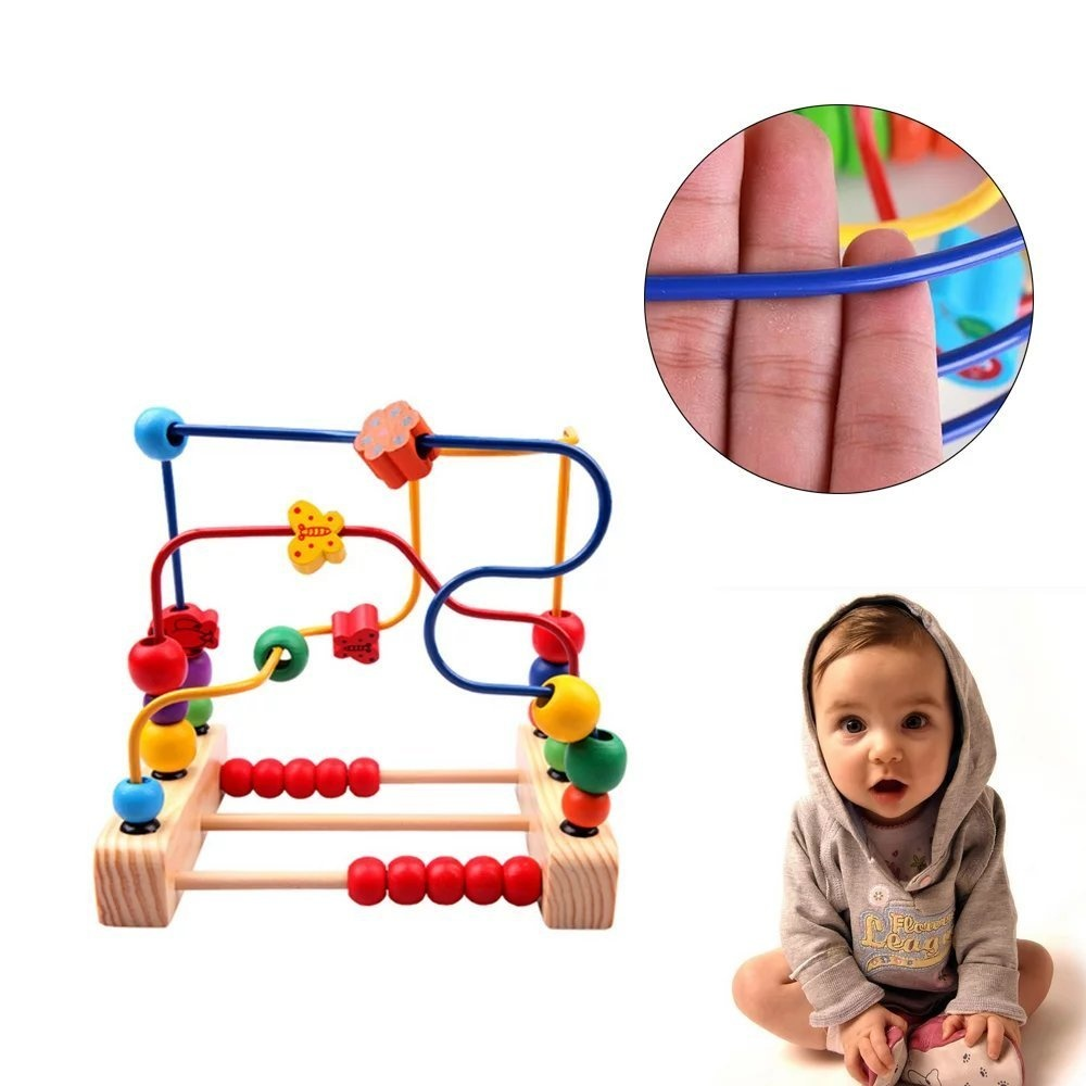 Gobus Colourful Wooden Beads Maze Math Learning Counting Elc Froggie Bubble Blower 139401 Roller Coaster Butterfly And Flower