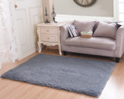 Living Room Rug, CWKTITI Super Soft Indoor Modern Shag Area Rugs Bedroom Rug for Children Play Solid Home Decorator Floor Rug and Carpets 4- Feet By 5- Feet, Grey