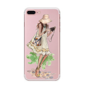 iPhone 7 Plus Case, Axiba Girl Printed Transparent TPU Carring Case Cover for iPhone 7 Plus 14cm