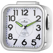 Atrium Senior Ansteigendem Alarm Clock Analogue White Bell Alarm Design with Light and Snooze, Clear Dial Stable A530