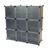 Cablematic - Modular shelving closet storage organising 9 plastic cube 35x35cm black with doors
