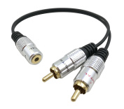 QiCheng & Start 3.5mm to RCA Male Audio Cable (10inch) Bi-Directional Female to Male Converter AUX Auxiliary Headphone Jack Plug Y Adapter to Left / Right Stereo Splitter Gold Plated Connector Wire Cord