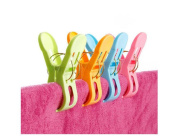 6Pcs Bright Assorted Colours Plastic Strong Beach Towel Clips Windproof Clips Clothespin Hanging Holders Hooks