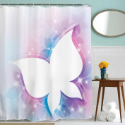Kingfansion Waterproof Bathroom Shower Curtain Fabric Panel Sheer Decor with Hooks Set