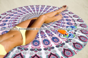 Peacock Mandala Tapestry 180cm Round Roundie Design By Bohomandala