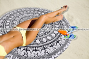 Beach Mandala Black & White BW Towel Best For Picnic Babies Baby Bikini Coverlet Tapestry Cover By Bohomandala