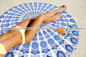 Dark Blue White Mandala Tapestry Roundie Round Beach Blanket Towel Coverlet By Bohomandala