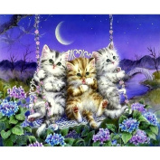 Fipart DIY diamond painting cross stitch craft kit. Wall stickers for living room decoration.Cat