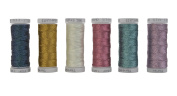 6 Colours 3-Ply Metallic Tatting yarn 50 metres each for Tatting Jewellery lacemaking