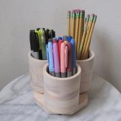 3 Cup Desktop Rotating Coloured Pencil Pen Marker Storage Holder Organiser, Holds 75+ Pencils, Cosmetic Makeup or Artist Paint Brushes