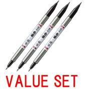 ×3 Zebra Fude Brush Pen, Double Sided for Real & Hard Type (FD-502) --VALUE SET