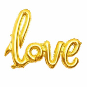 B-G 80cm Love Balloon Banner (2pcs) Romantic Wedding Bridal Shower Anniversary Engagement Party Decoration Vow Renewal Gold Balloon BA011G