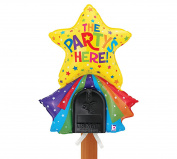 The Party's Here Star and Rainbow Mailbox Balloon, Reusable Party Decoration