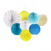 SUNBEAUTY Pack of 8 Yellow Whit Blue Tissue Paper Crafts Pom Poms Paper Fans Honeycomb Balls Kit for Wedding Baby Shower Party Decoration