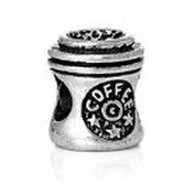 Beads Hut - Coffee to Go Cup Travel Mug Spacer Bead fits Silver European Charm Bracelets