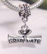 Beads Hut - Graduate Diploma Graduation Gift Dangle Bead for Silver European Charm Bracelets